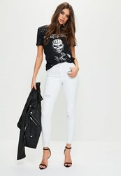 Missguided White Mid Rise Rip And Repair Skinny Jeans