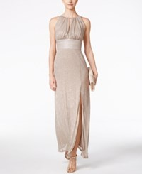 R And M Richards Metallic Knit Keyhole Halter Gown Gold
