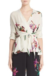 Etro Women's Floral And Bird Print Silk Wrap Blouse