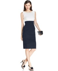 Connected Petite Embellished Tiered Sheath Dress Ivory Navy