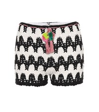 Anna Kosturova Zebra Crocheted Cotton Shorts Black