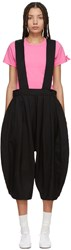 Comme Des Garcons Girl Black Crinkled Pleated Suspender Trousers