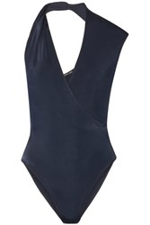 Cushnie Et Ochs Twisted Wrap Effect Stretch Jersey Bodysuit Navy