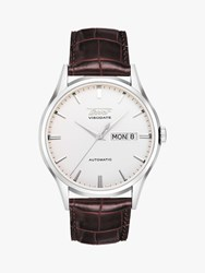 Tissot T0194301603101 'S Visodate Automatic Day Date Leather Strap Watch Brown White