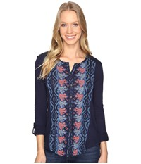 Lucky Brand Placed Print Top Navy Multi Women's Clothing Blue