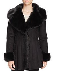 Via Spiga Faux Shearling Coat Black