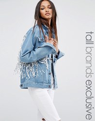 Liquor And Poker Tall Denim Jacket With Sequin Trim Back Detail Blue Denim