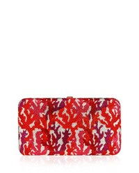 Judith Leiber Coral Crystal Rectangle Clutch Bag Red Multi Red Pattern