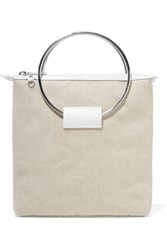 Little Liffner Ring Croc Effect Leather And Canvas Tote White
