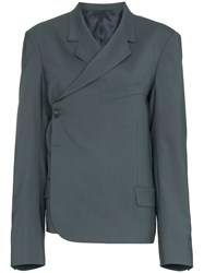Martine Rose Twisted Double Breasted Wool Blend Blazer Grey