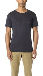Todd Snyder Linen Jersey Button Pocket Tee Navy