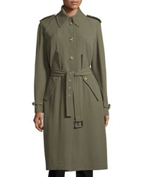 Michael Kors Button Front Belted Trench Coat Juniper