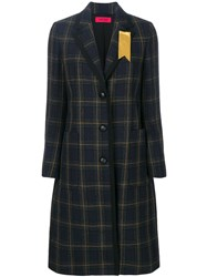 The Gigi Checked Coat Cotton Viscose Wool Blue