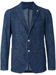 Tagliatore Tailored Denim Blazer Men Cotton Cupro 52 Blue