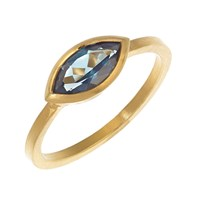 Rhiannon Lewis Jewellery Gold Vermeil Marquise London Blue Topaz Ring Blue Gold