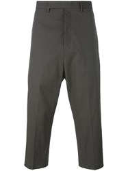 Rick Owens Drop Crotch Cropped Trousers Grey