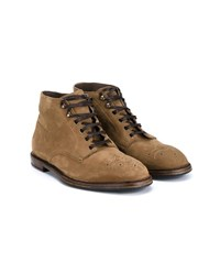 Dolce And Gabbana Perforated Suede Worker Boots Sand Sandy Brown Indigo