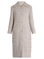 Nina Ricci Point Collar Wool Blend Tweed Coat Light Grey