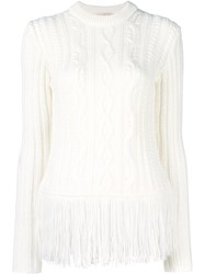 Tory Burch Cable Knit Jumper White