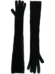 Dolce And Gabbana Long Woollen Gloves Black