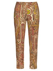 Etro Decorative Print Wool Cigarette Trousers Yellow Multi