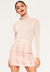 Missguided Pink Faux Suede Multi Eyelet Lace Up Mini Skirt