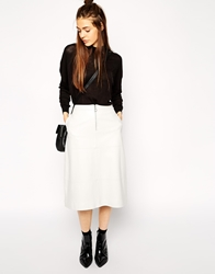 Asos A Line Midi Skirt In Leather Grey