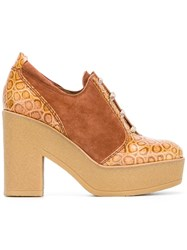 See By Chloe Embossed Detail Lace Up Shoes Nude Neutrals