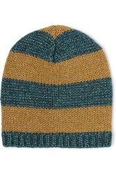 Gucci Metallic Striped Knitted Beanie Gold Teal
