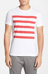 Men's French Connection 'Chatsworth Space Stripe' T Shirt White Flame Scarlet