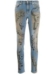 Off White Graffiti Print Skinny Jeans Blue