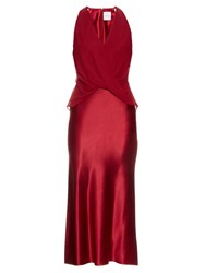Dion Lee Silk Satin Twist Front Midi Dress Red