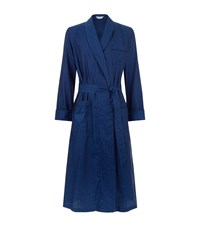 Derek Rose Floral Jacquard Robe Male Navy