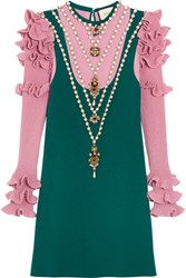 Gucci Embellished Wool Blend Mini Dress Teal