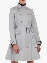 Ted Baker Marrian Knot Cuff Detail Trench Coat Grey Mid