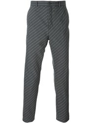 Y Project Diagonal Pinstripe Trousers Grey