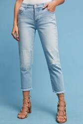 Anthropologie Pilcro Hyphen Mid Rise Boyfriend Cropped Jeans Denim Medium Blue