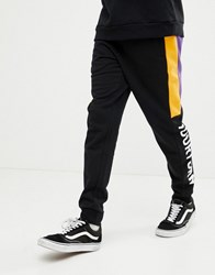 Your Turn Yourturn Joggers In Black With Colour Block Side Stripe