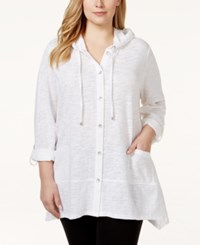 Styleandco. Style And Co. Sport Plus Size Hooded Button Down Jacket Only At Macy's