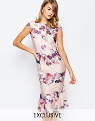 True Violet Bardot Pencil Dress With Flippy Hem In Panneled Floral Print Multi