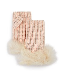 Ugg Australia Lurex Crochet Gloves With Shearling Sheepskin Cuff Freshwater Pearl