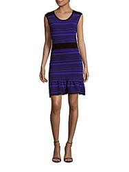 Sandro Repetition Ruffled Sheath Dress Electric Blue