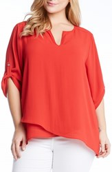Plus Size Women's Karen Kane Faux Wrap Asymmetrical Hem Top
