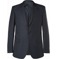 Kilgour Navy Wool And Silk Blend Suit Jacket Blue
