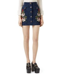 Gucci Embroidered Suede Mini Skirt Navy