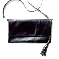 Angela Valentine Handbags Fold Over Convertible Clutch Black