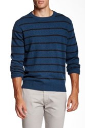Qi Cashmere Crew Neck Fine Feeder Stripe Sweater Blue