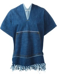 Ermanno Gallamini Fringe Tunic Top Blue
