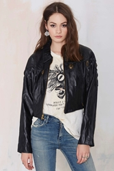 Nasty Gal Vintage Straight Shot Leather Crop Jacket