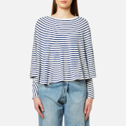 Maison Martin Margiela Mm6 Women's Striped Long Sleeve Cape Top Off White Blue Stripe Multi